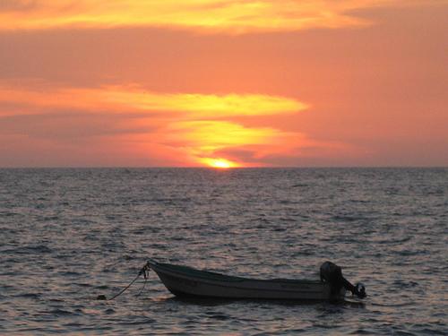 Puerto Vallarta at sunset on Los Muertos Beach
