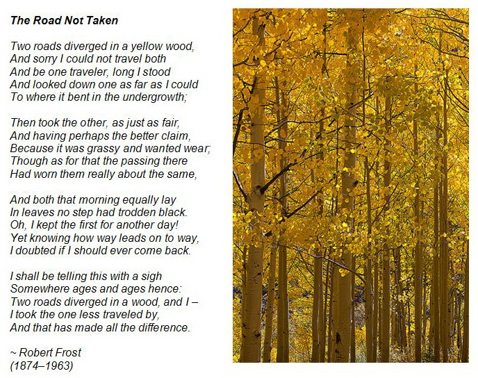 a decision on which path to take in the road not taken by robert frost The road not taken frost, robert 1920 robert frost (1874–1963) mountain interval 1920 1 the road not taken : two roads diverged in a yellow wood.